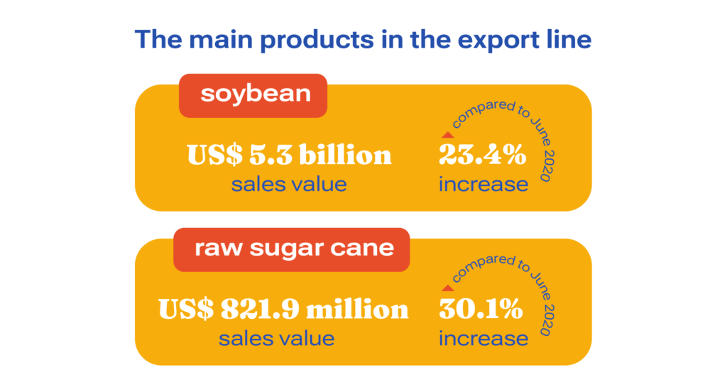 Graphic shows the main products on Brazilian exports line